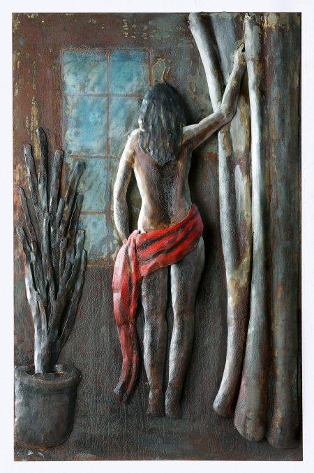 Wandbild Metall Bild 3D-Optik Desire Rückenansicht Frau rotes Tuch