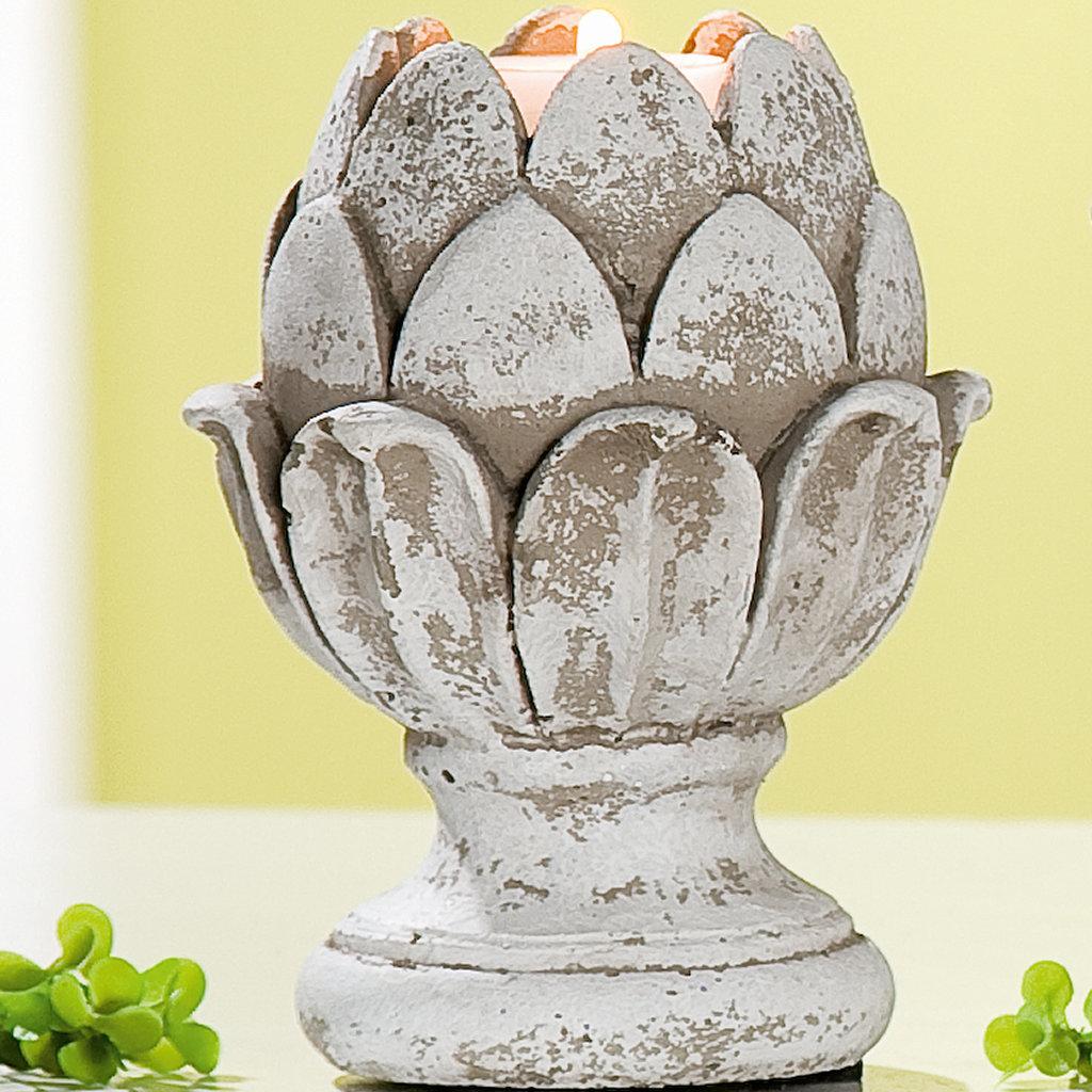 Artischocke Zement Teelichthalter antik grau