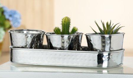 Pflanzschale Hammered Edelstahl silber poliert 4er Set von Gilde Handwerk