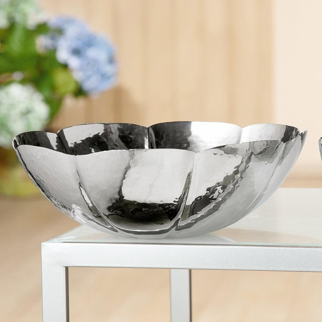 Blumenschale Hammered Edelstahl silber poliert Durchmesser 24,5 cm von Gilde Handwerk