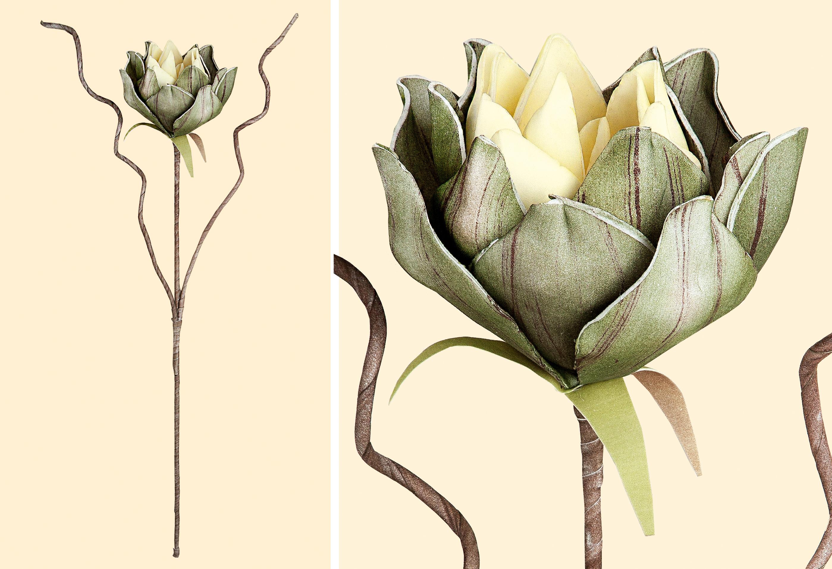 Deko Seerosen Zweig 2er Set grün braun eine Blüte