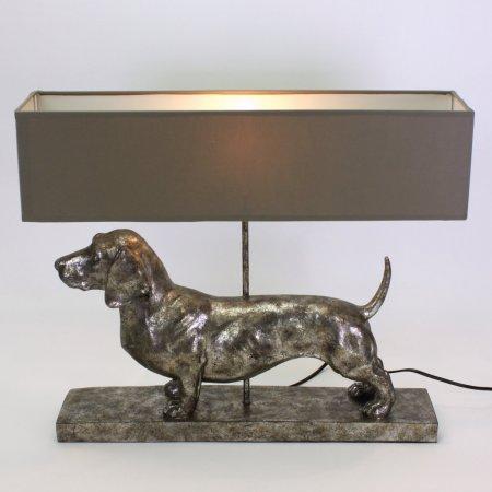Tischlampe Dackellampe Höhe 48,5 cm Schirm rechteckig grau