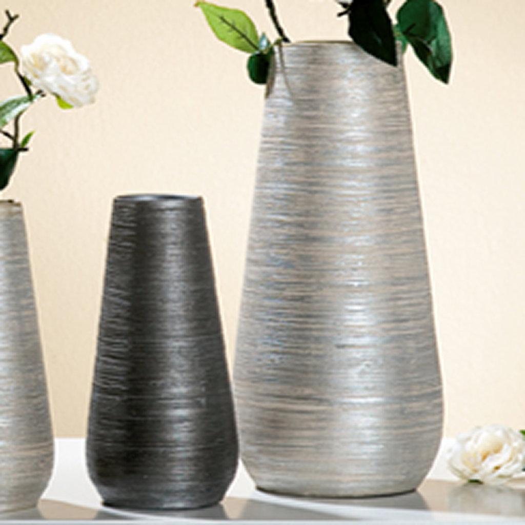 Genial Vase Grau Sammlung Von Konisch Höhe 23 Cm Handarbeit Keramik Collection