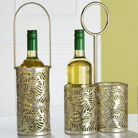Tragekorb Flaschen Flaschenhalter 1 Flasche Palma Metall champagnerfarben Flaschentragekorb mit Henkel