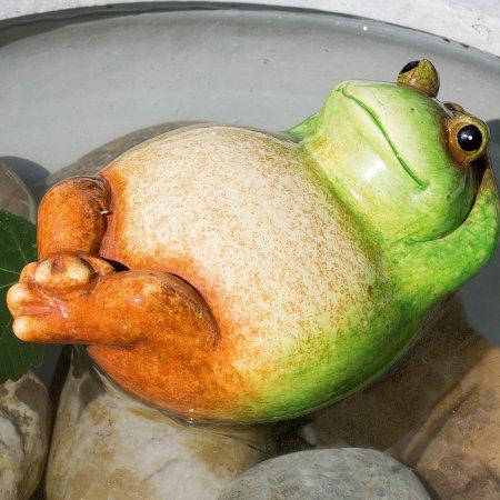 Keramikfrosch Teichfrosch Rückenschwimmer Schwimmfigur grün creme braun