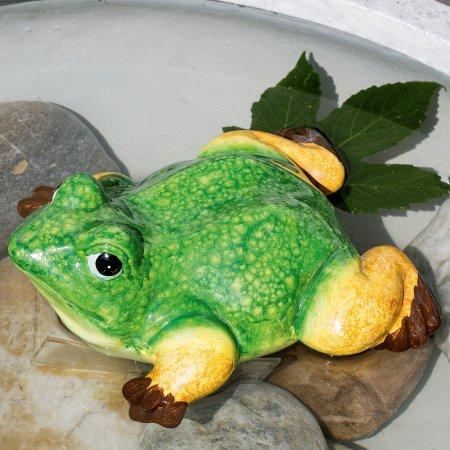 Keramikfrosch Teichfrosch auf Bauch liegend Schwimmfigur grün gelb braun Außendekoration