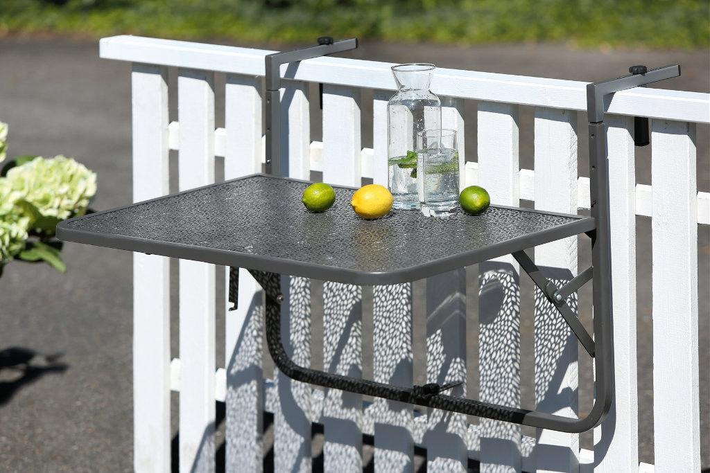 Balkon Einhängetisch Stahl grau pulverbeschichtet Platte Mosaikmuster