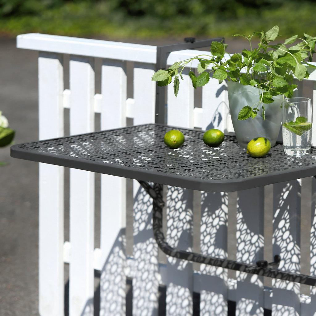 Balkon Einhängetisch Stahl grau pulverbeschichtet Platte Blumenmuster