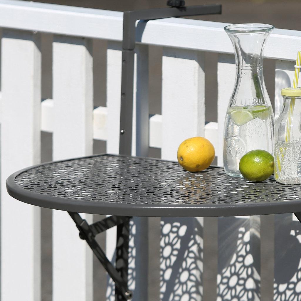 Balkon Einhängetisch Stahl grau pulverbeschichtet halbrund Platte Mosaikmuster