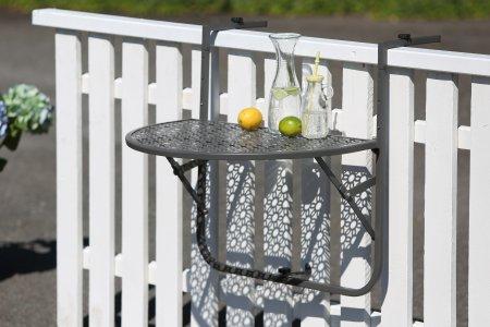 Balkon einhängetisch Stahl grau pulverbeschichtet halbrund Platte Blumenmuster
