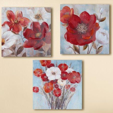 Wohnambiente Gemälde Mohnblumen dreiteilig handgemalt