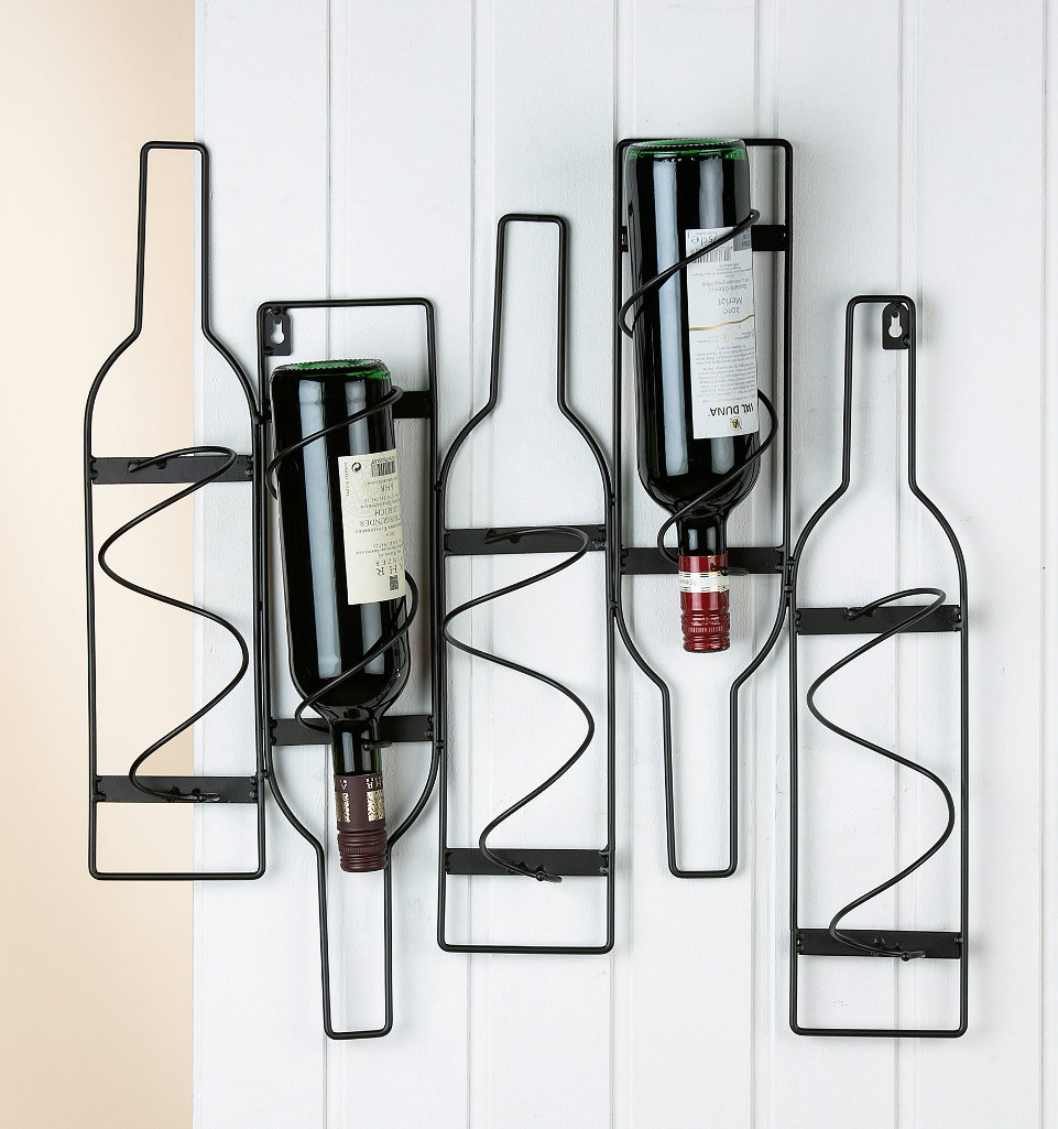Wand Weinflaschenhalter Bottles Metall Schwarz Funf Flaschen Gilde