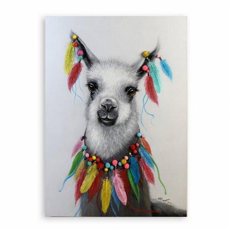 """Ölbild """"Lama"""" Leinwand weiß grau bunte Pompons Federn Handgemalt"""