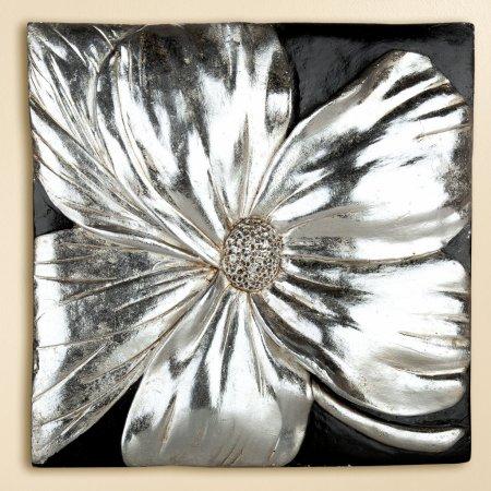 Wandbild Mohnblüte schwarz silber Magnesi Gilde