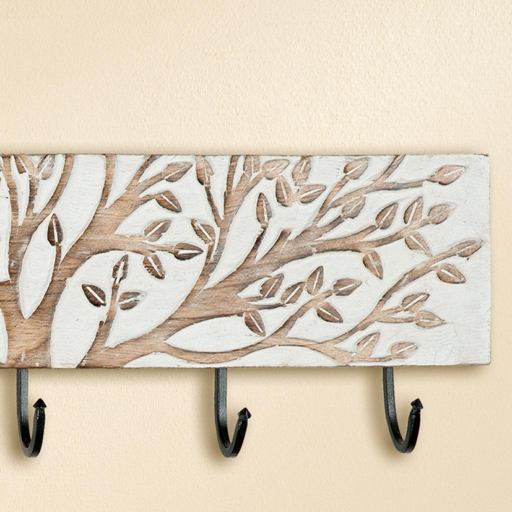 garderobe motiv lebensbaum aus holz mit drei haken wei. Black Bedroom Furniture Sets. Home Design Ideas