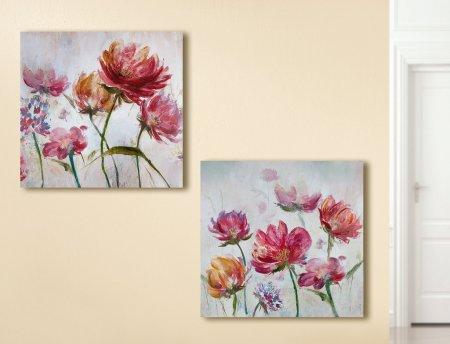 Bilder Set Gemälde Blumenwiese mehrfarbig handgemalt Gilde