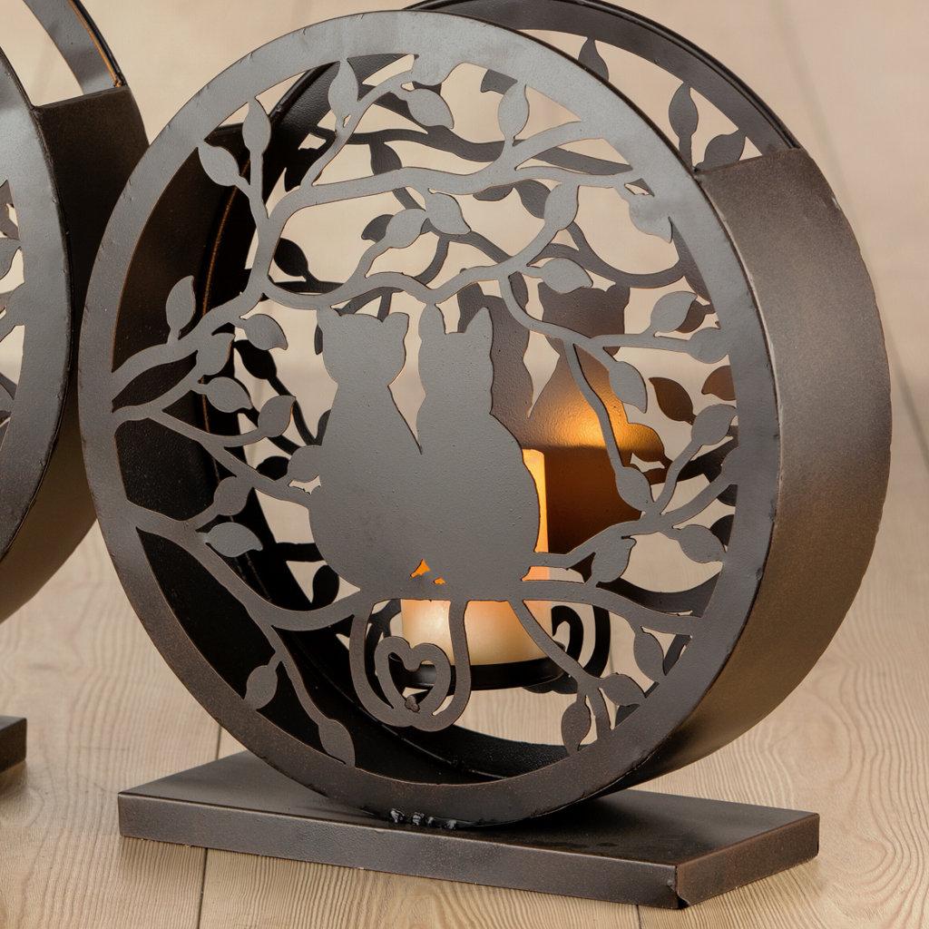 Windlicht Metall Katzenpaar antik braun Höhe 39cm Gilde Handwerk