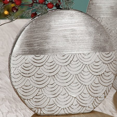 "Vase ""Tegola"" Keramik flach versilbert Höhe 35cm Gilde Handwerk"