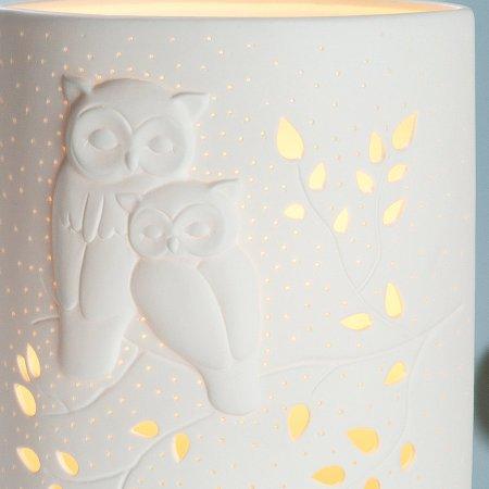 Wohn Dekor Eulenpaar Porzellan Lampe weiß Höhe 28cm Ellipse Gilde