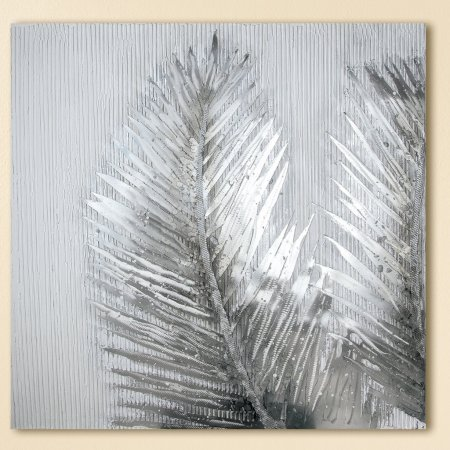 """Gemälde """"Silberfarn"""" Motiv Farnblätter Aluminium Ornamente handgemalt Gilde"""