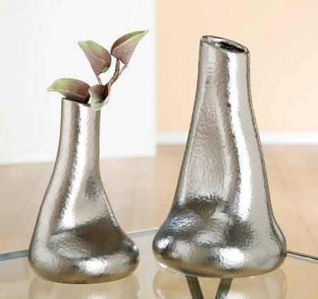 Vase Keramik Tüte Battuto silberfarben Handarbeit Gilde