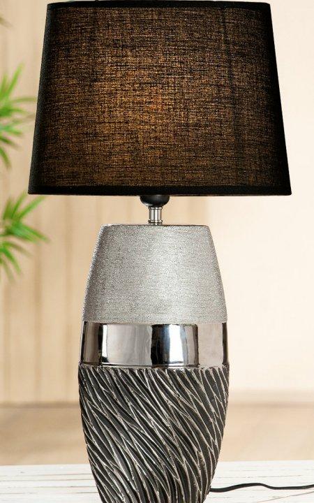 Lampe Risca silber grau Keramik Schirm schwarz Gilde Handwerk