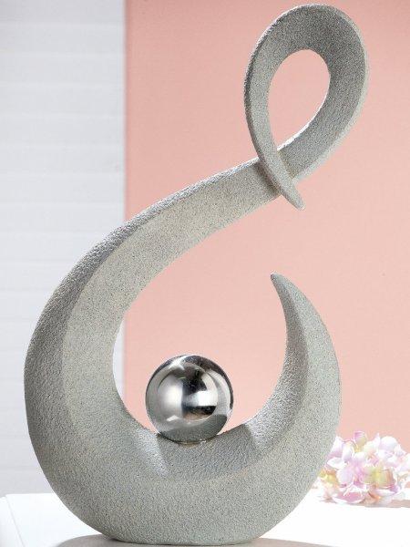 Skulptur Ferita Gilde Poly grau silber Outdoor