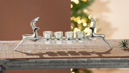 Teelichthalter Hirsch Alu silberfarben 4 Teelichter Glas