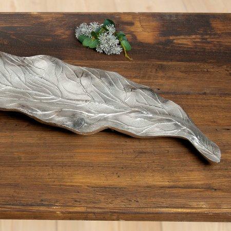 Schale Blatt silberfarben Aluminium Gilde Handwerk