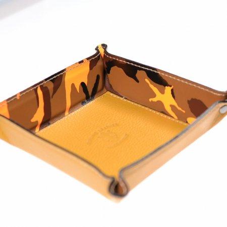 Aufbewahrungsschale Echtes Leder Senfgelb Braun Orange Quadratisch Unikat
