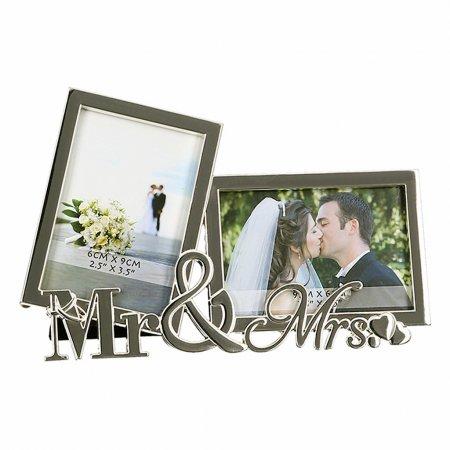 Hochzeit Geschenk Wohn Accessoires Metall Tischaufsteller Mr & Mrs Foto Rahmen silber Größe Bilder 6,5x9cm