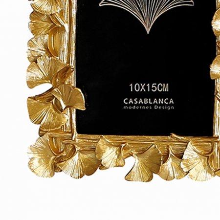 Wohn Dekoration Accessoires Foto Rahmen Ginkgo goldfarben Tischaufsteller Bilderrahmen Foto Größe 10x15cm