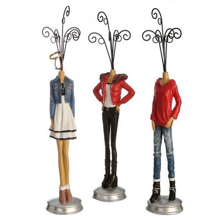 Drei Figuren für Schmuckaufbewahrung, Schmuckhalter Set Girly Poly Fünf Haken dreifach sortiert