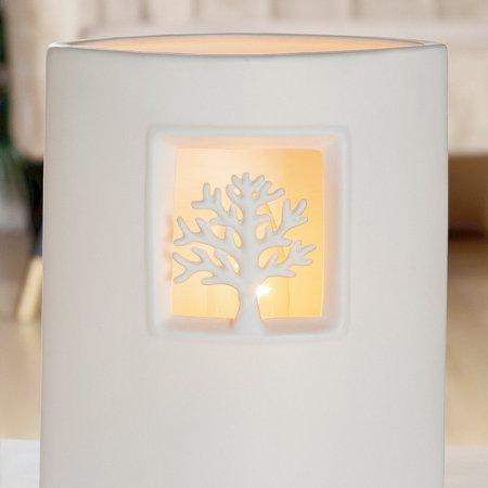 Einrichtung Beleuchtung Porzellan Lampe Ellipse Baum weiss Höhe 21cm