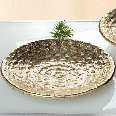 Dekorationsobjekt Keramik Deko Schale La Perla Format rund Farbe champagner gold 48cm Durchmesser