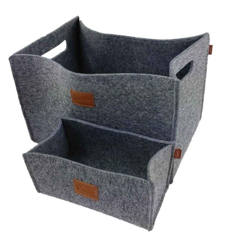 Aufbewahrungsbox drei Stück Filzbox universell handgemacht 3er-Set Farbe grau