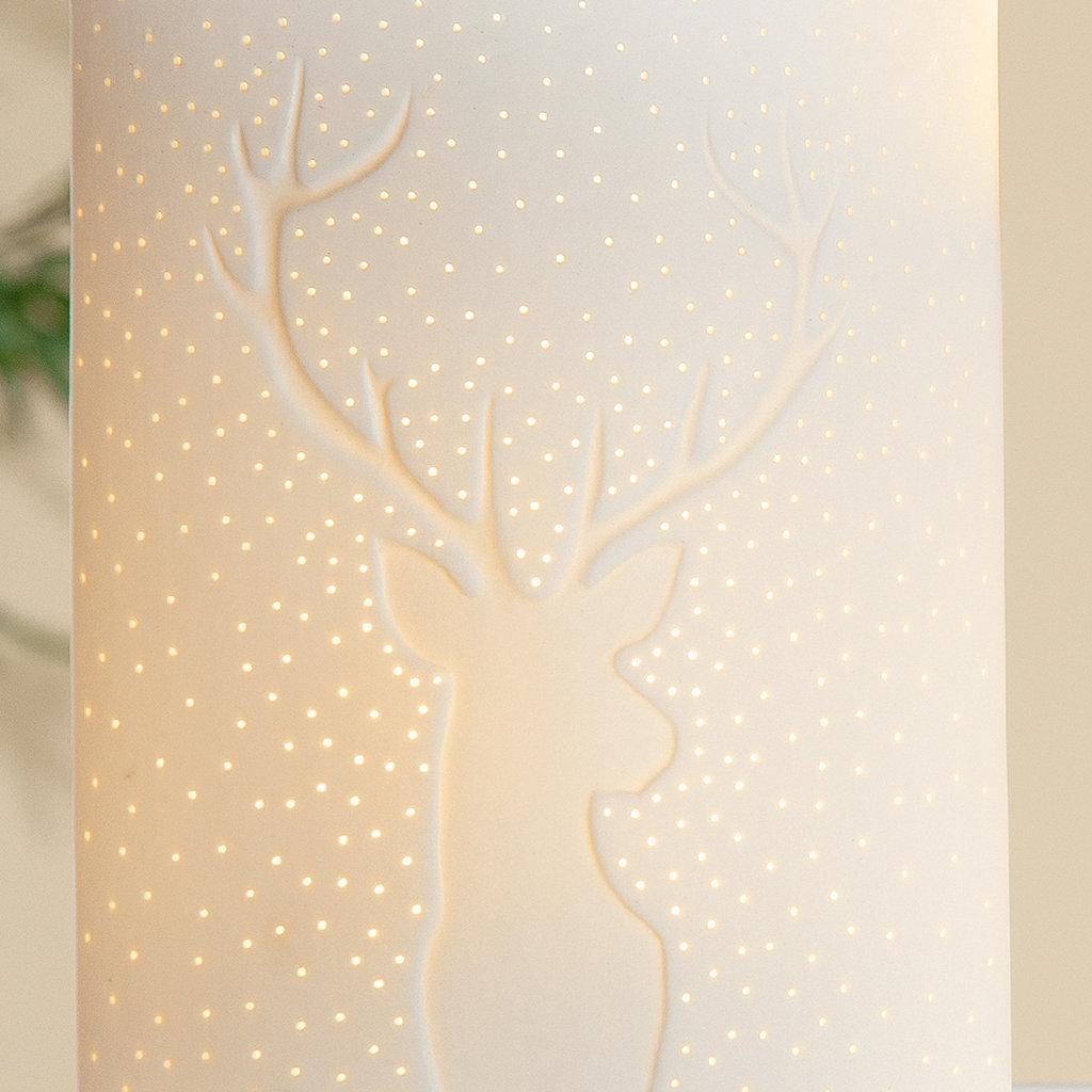 Innenbeleuchtung Porzellan Lampe Ellipse Hirsch weiss Höhe 26cm Gilde