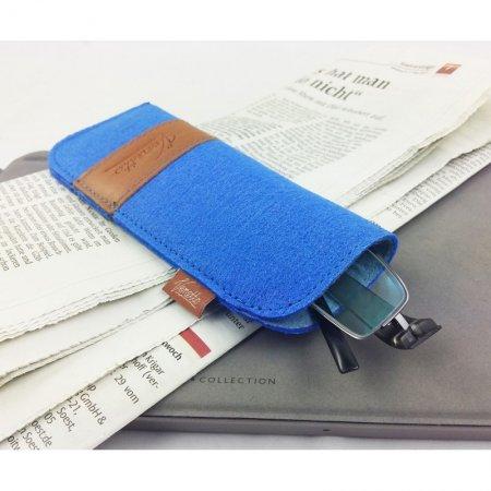 modern, elegant, Hülle für Brille, Etui Brille Filz Echtleder Farbe blau Innenfutter handgemacht