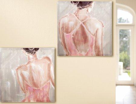Zwei Gemälde Gemälde Ballerina Set zwei Stück Leinwand glänzend rosa beige handbemalt