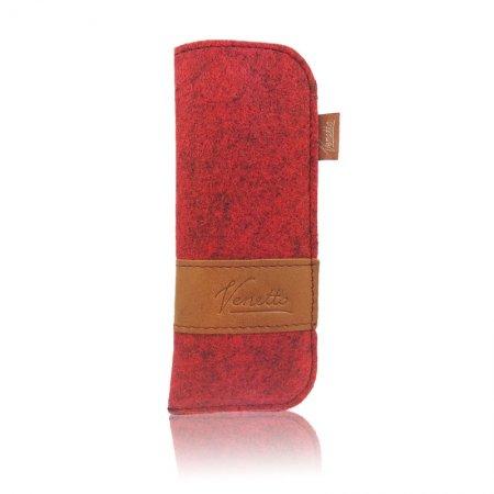 Hülle schmal Brillenetui Filz Echtleder Farbe rot Innenfutter handgemacht