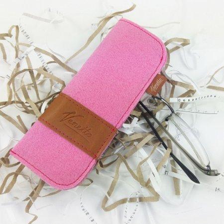 Hülle rosa, Etui Brille Filz Echtleder Farbe Pink Innenfutter handgemacht