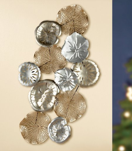Inneneinrichtung Metall Wandrelief Seerosenblätter champagner silber goldfarben Gilde Handwerk