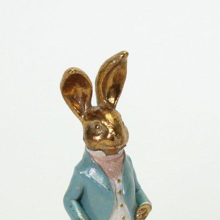 Hasenkind Osterfigur Hase Kind Figur stehend Poly farbig