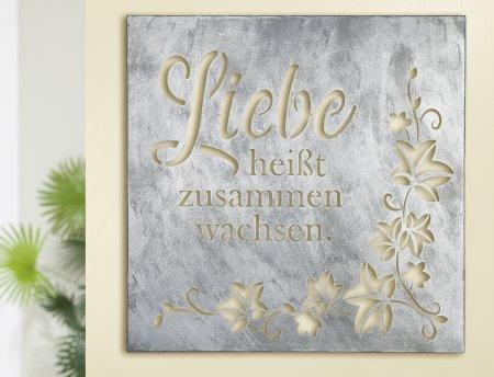 Dekoratives Metall Wandrelief Ranke Liebe antik silber Gilde Handwerk