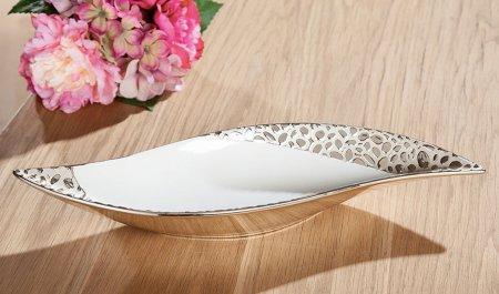 Im Set Vase und Deko Schale champagnerfarben mit Struktur Oberfläche weiß Keramik