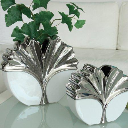 "Wohn Accessoirs Ein Set zwei Vasen ""Siara"" Keramik Farben weiss silber Öffnung Gingko Blatt"