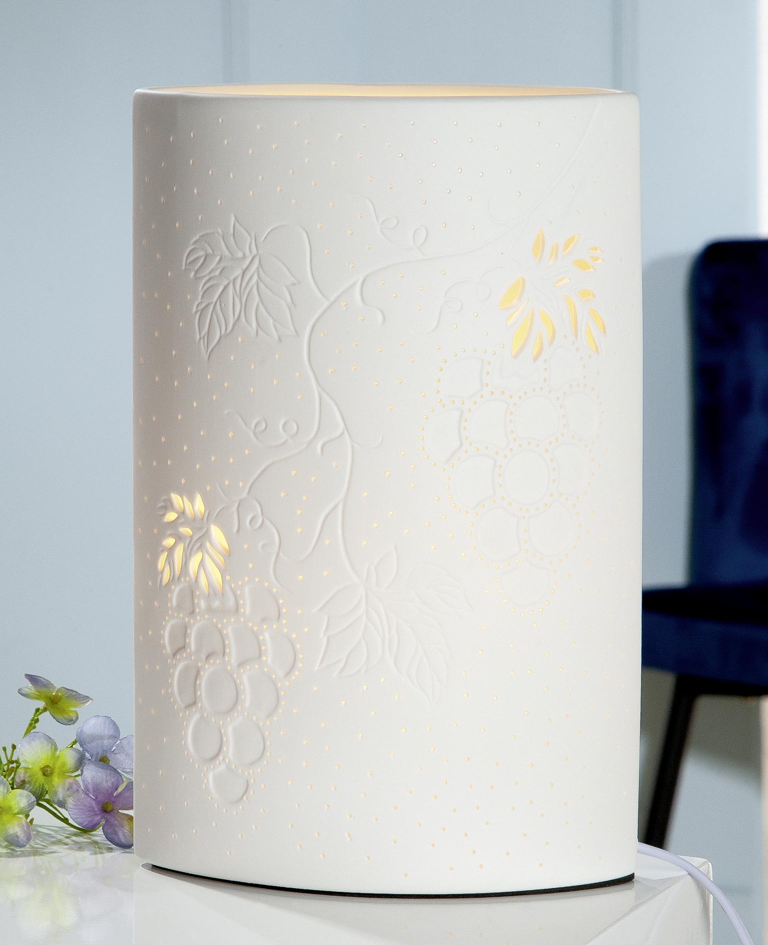Wohn Accessoires Form Ellipse Porzellan Lampe Wein weiss Höhe 28cm Gilde