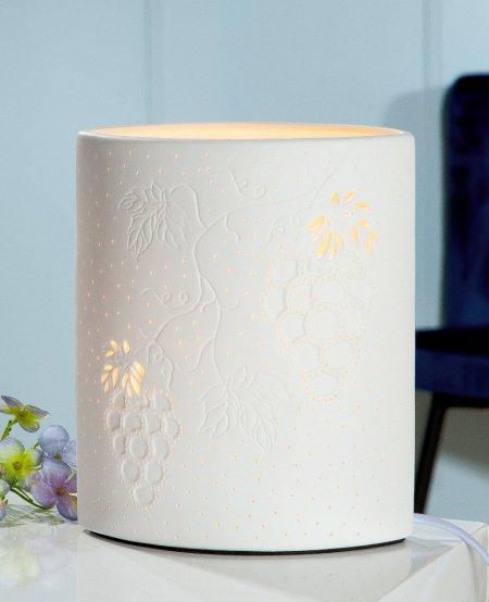 Wohn Accessoires Form Ellipse Porzellan Lampe Wein weiss Höhe 20cm Gilde