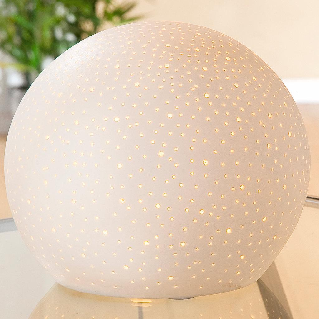 Wohndekoration Beleuchtung Sternenhimmel Porzellan Kugel Lampe Farbe weiß Breite 18cm Gilde