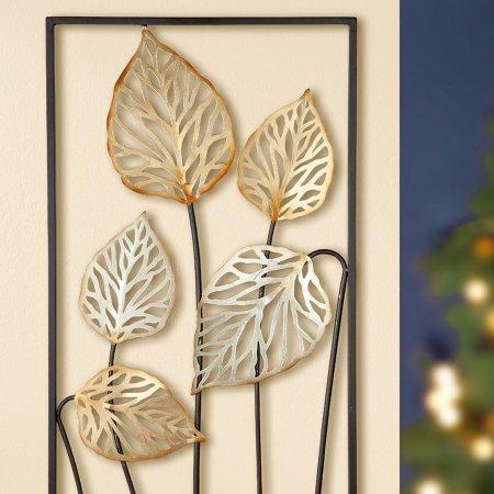 Wandobjekt Wandrelief Frasca Metall braun gold/silber Form hochkant 80cm Gilde
